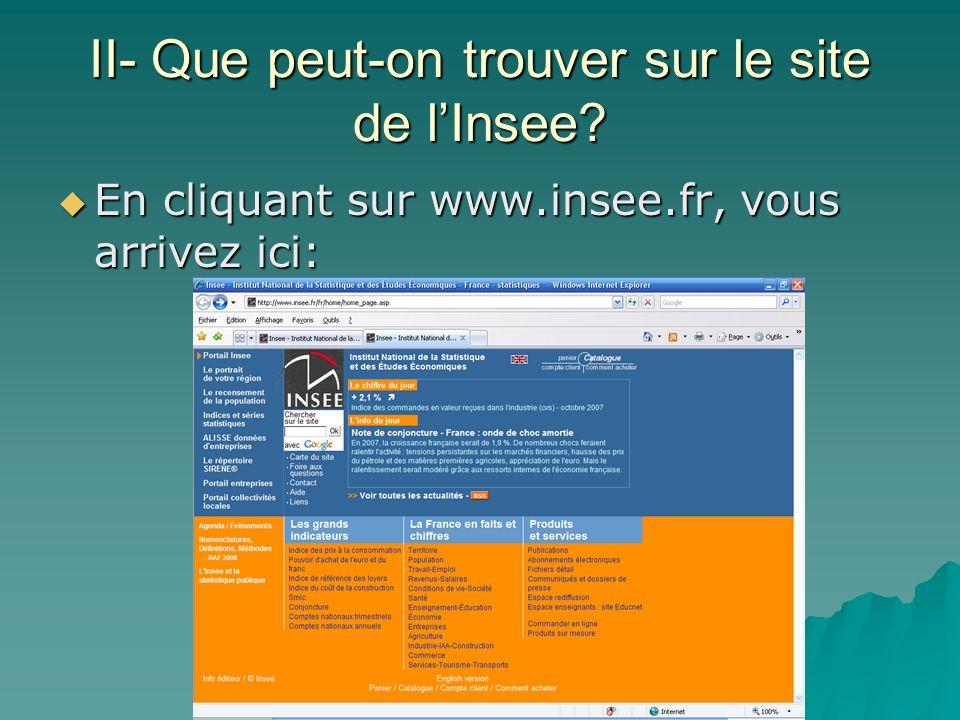 II- Que peut-on trouver sur le site de lInsee? En cliquant sur www.insee.fr, vous arrivez ici: En cliquant sur www.insee.fr, vous arrivez ici: