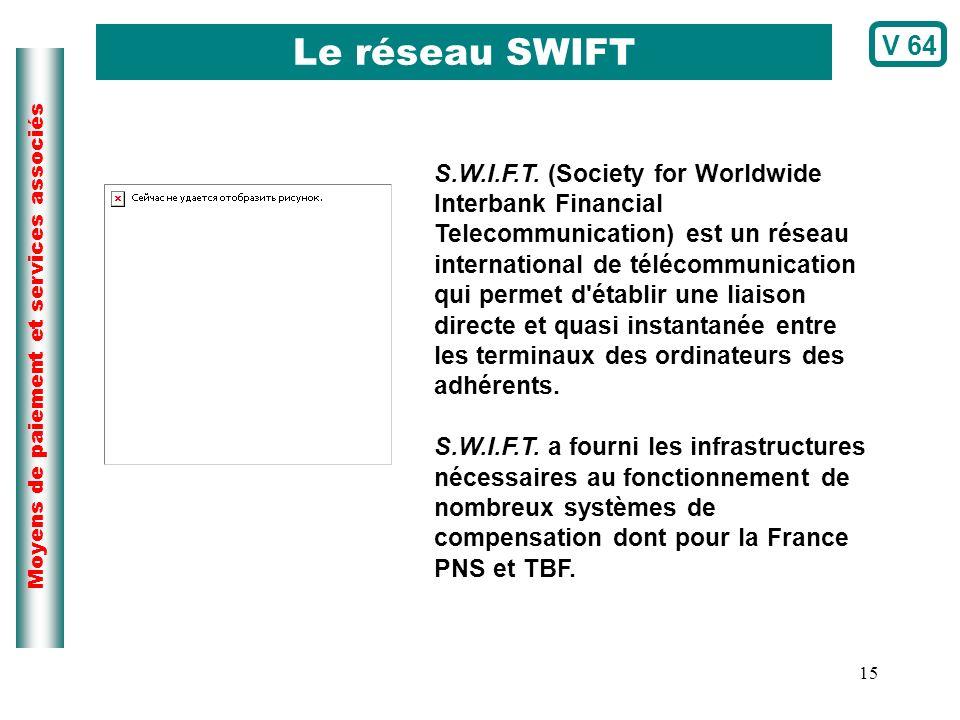 15 Moyens de paiement et services associés S.W.I.F.T. (Society for Worldwide Interbank Financial Telecommunication) est un réseau international de tél