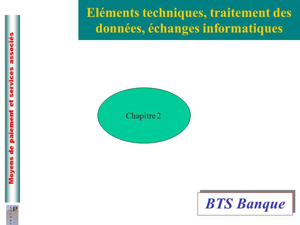2 Moyens de paiement et services associés Eléments techniques, traitement des données, échanges informatiques Chapitre 2 BTS Banque