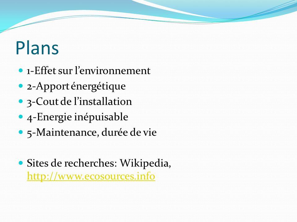 Plans 1-Effet sur lenvironnement 2-Apport énergétique 3-Cout de linstallation 4-Energie inépuisable 5-Maintenance, durée de vie Sites de recherches: W