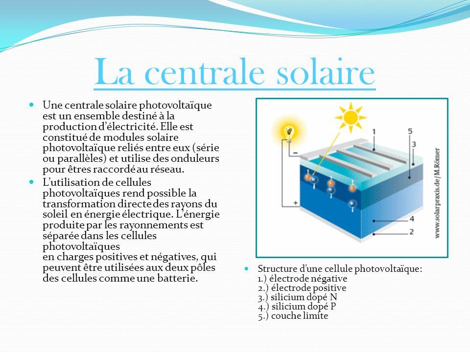 La centrale solaire Une centrale solaire photovoltaïque est un ensemble destiné à la production délectricité. Elle est constitué de modules solaire ph