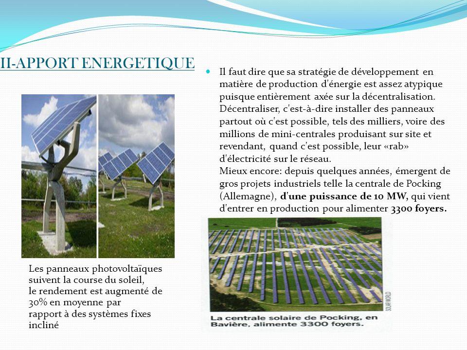 II-APPORT ENERGETIQUE Les panneaux photovoltaïques suivent la course du soleil, le rendement est augmenté de 30% en moyenne par rapport à des systèmes