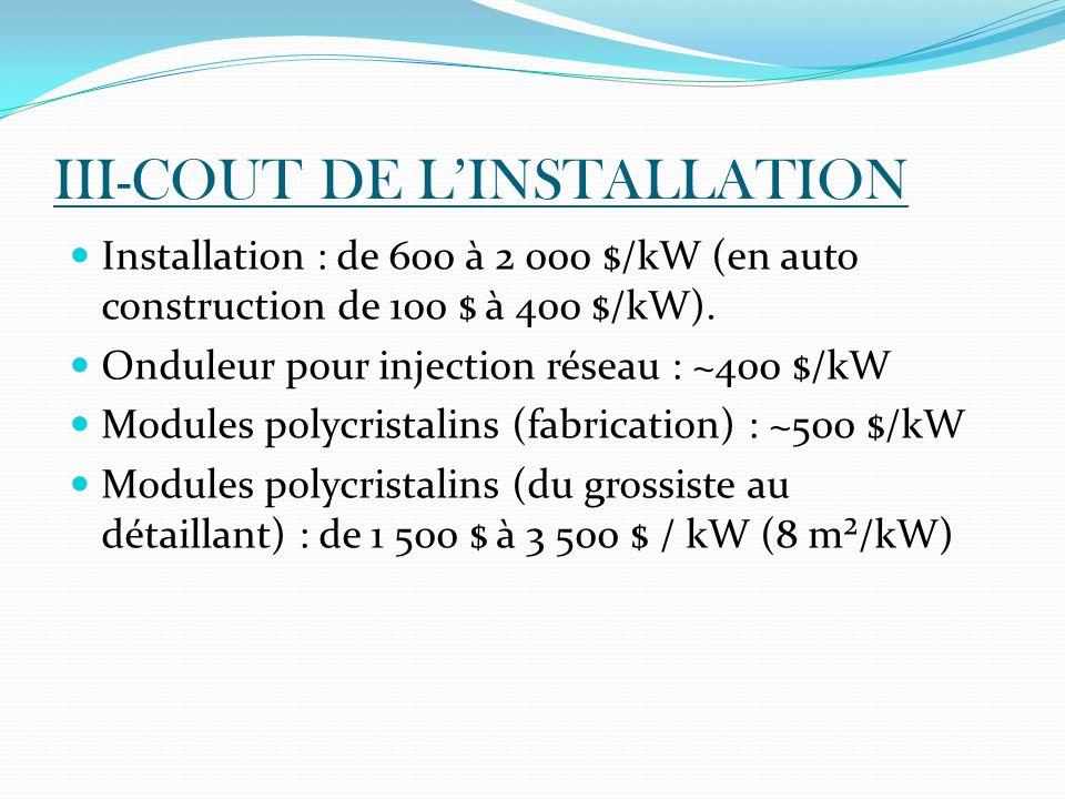 III-COUT DE LINSTALLATION Installation : de 600 à 2 000 $/kW (en auto construction de 100 $ à 400 $/kW). Onduleur pour injection réseau : ~400 $/kW Mo