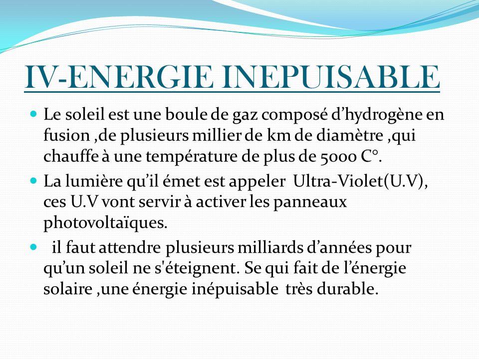 IV-ENERGIE INEPUISABLE Le soleil est une boule de gaz composé dhydrogène en fusion,de plusieurs millier de km de diamètre,qui chauffe à une températur