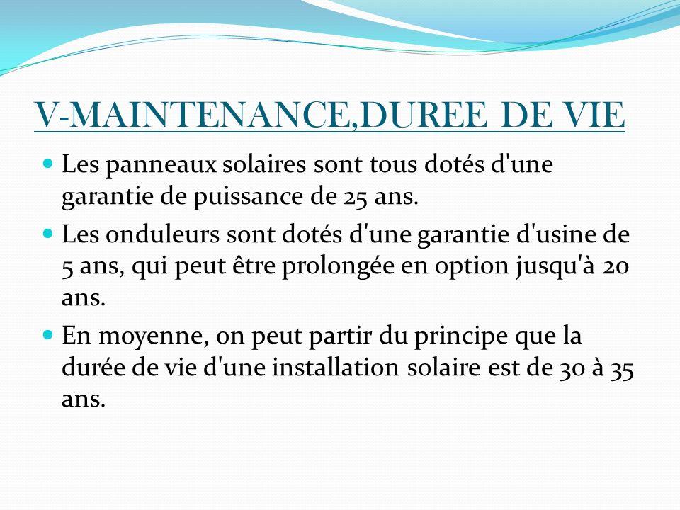 V-MAINTENANCE,DUREE DE VIE Les panneaux solaires sont tous dotés d'une garantie de puissance de 25 ans. Les onduleurs sont dotés d'une garantie d'usin