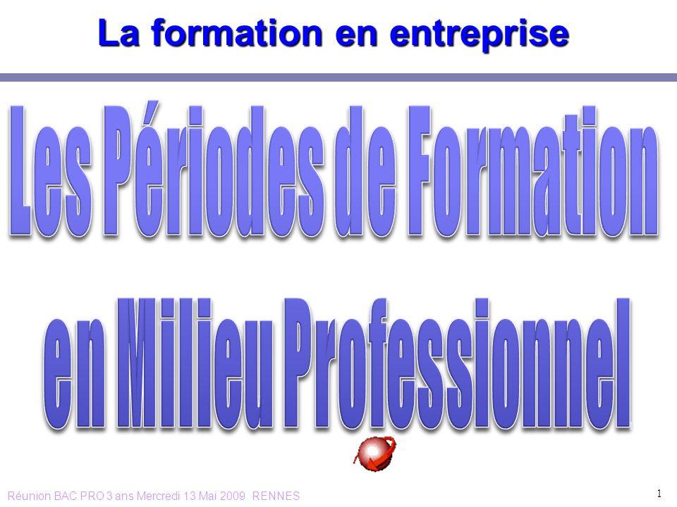 La formation en entreprise 1 1 Réunion BAC PRO 3 ans Mercredi 13 Mai 2009 RENNES