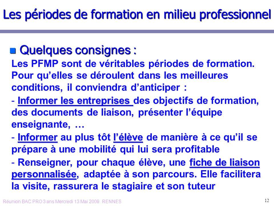 n Quelques consignes : 12 Les périodes de formation en milieu professionnel Les PFMP sont de véritables périodes de formation. Pour quelles se déroule