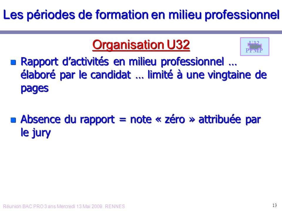Les périodes de formation en milieu professionnel Organisation U32 n Rapport dactivités en milieu professionnel … élaboré par le candidat … limité à u