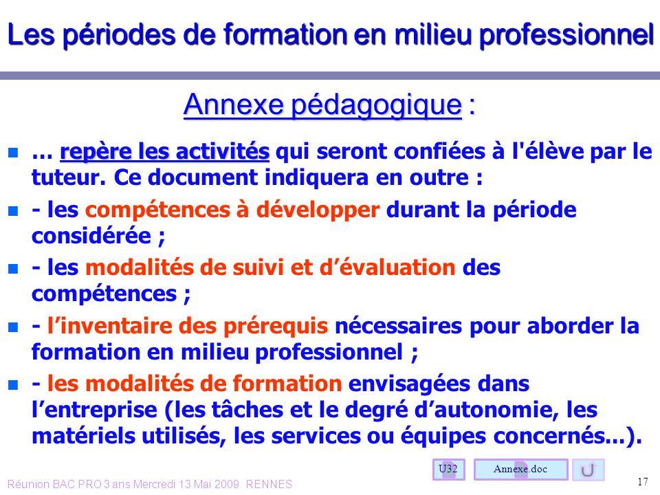 Les périodes de formation en milieu professionnel Annexe pédagogique : n repère les activités n … repère les activités qui seront confiées à l'élève p