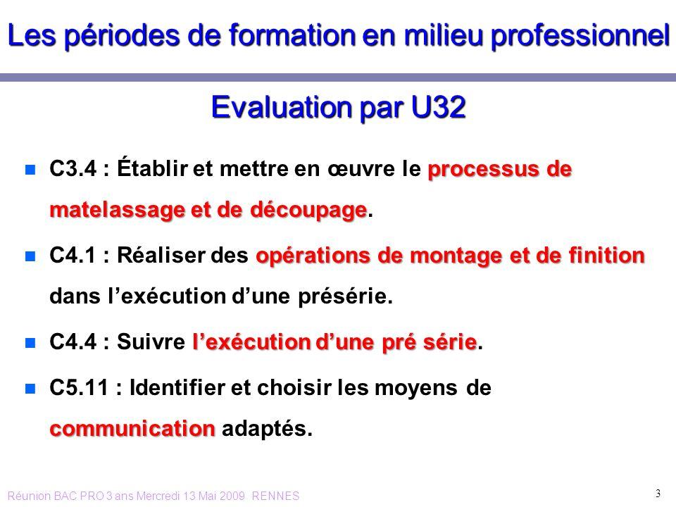 Les périodes de formation en milieu professionnel Evaluation par U32 n processus de matelassage et de découpage n C3.4 : Établir et mettre en œuvre le