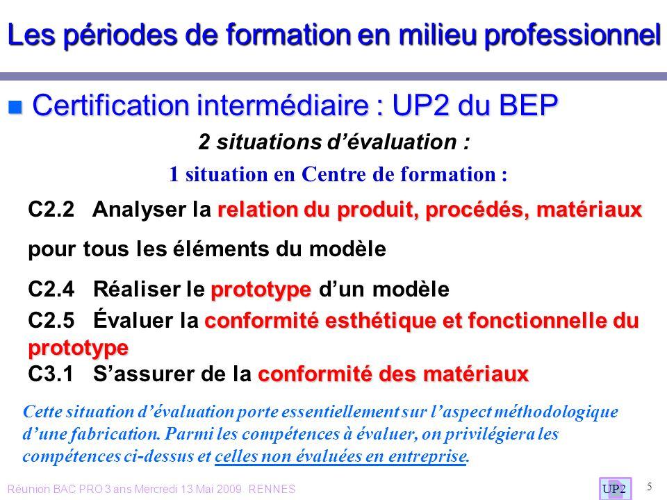 Les périodes de formation en milieu professionnel n Certification intermédiaire : UP2 du BEP 2 situations dévaluation : 5 UP2 1 situation en Centre de