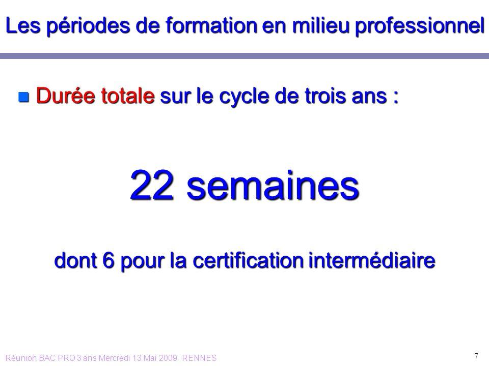 Les périodes de formation en milieu professionnel n Durée totale sur le cycle de trois ans : 22 semaines dont 6 pour la certification intermédiaire 7