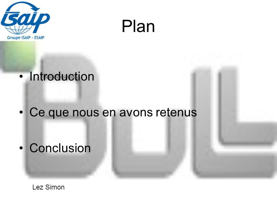 Plan Introduction Ce que nous en avons retenus Conclusion Lez Simon
