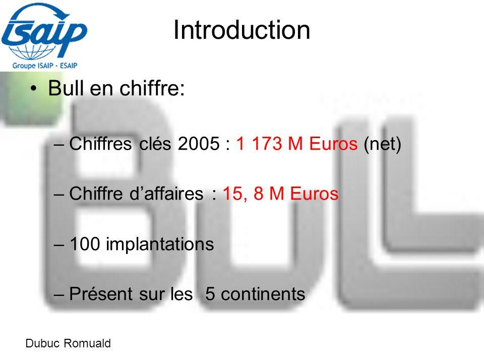 Introduction Bull en chiffre: –Chiffres clés 2005 : 1 173 M Euros (net) –Chiffre daffaires : 15, 8 M Euros –100 implantations –Présent sur les 5 continents Dubuc Romuald