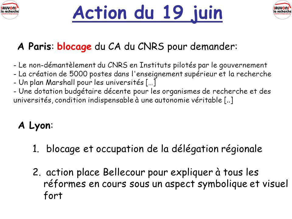 Action du 19 juin A Paris: blocage du CA du CNRS pour demander: - Le non-démantèlement du CNRS en Instituts pilotés par le gouvernement - La création