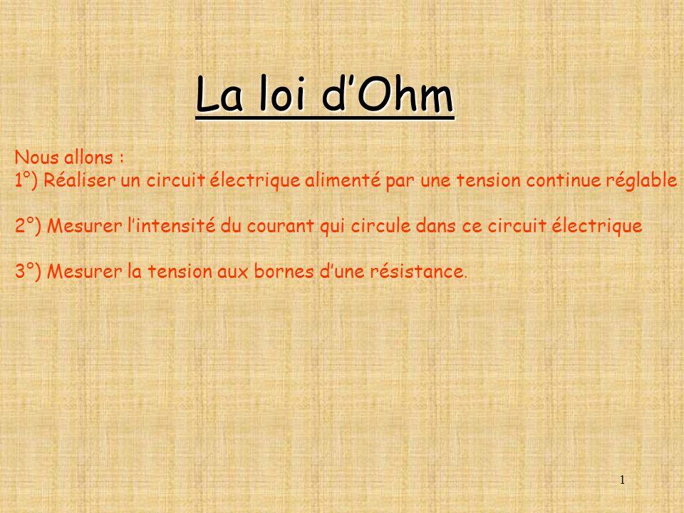 1 Nous allons : 1°) Réaliser un circuit électrique alimenté par une tension continue réglable 2°) Mesurer lintensité du courant qui circule dans ce ci