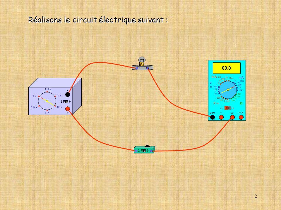 2 10 10 A 00.0 Com mA DC A OffOn 10A 2A 200 20 V 2 V AC mA AC V DC 2M 20k 2k 200 0.2 2 200 20 2 0.2 2 20 200 10A 2A 200 20 Réalisons le circuit électr