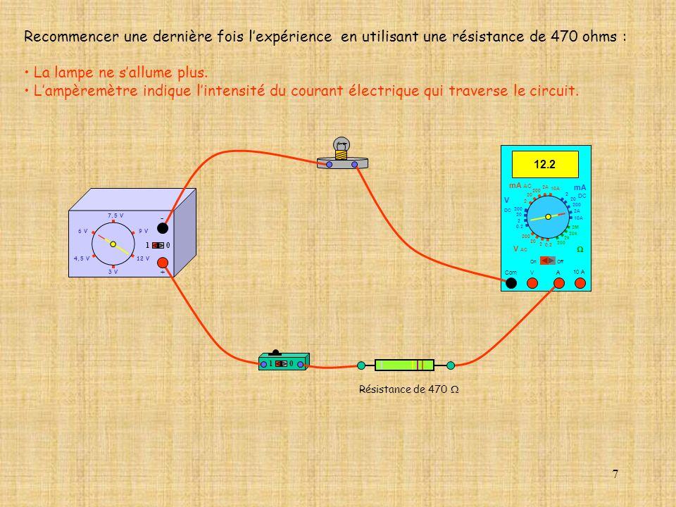 8 10 10 A 0.00 Com mA DC A OffOn 10A 2A 200 20 V 2 V AC mA AC V DC 2M 20k 2k 200 0.2 2 200 20 2 0.2 2 20 200 10A 2A 200 20 4,5 V12 V 3 V 9 V6 V 7,5 V + - Réaliser le montage électrique suivant :.000 Com mA DC A OffOn 10A 2A 200 20 V 2 V AC mA AC V DC 2M 20k 2k 200 0.2 2 200 20 2 0.2 2 20 200 10A 2A 200 20 10 A 10 Résistance 470