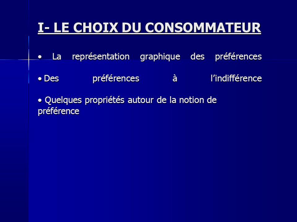 I- LE CHOIX DU CONSOMMATEUR La représentation graphique des préférences Des préférences à lindifférence La représentation graphique des préférences De