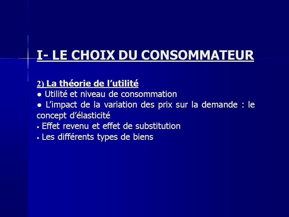 I- LE CHOIX DU CONSOMMATEUR La théorie de lutilité 2) La théorie de lutilité Utilité et niveau de consommation Utilité et niveau de consommation Limpa