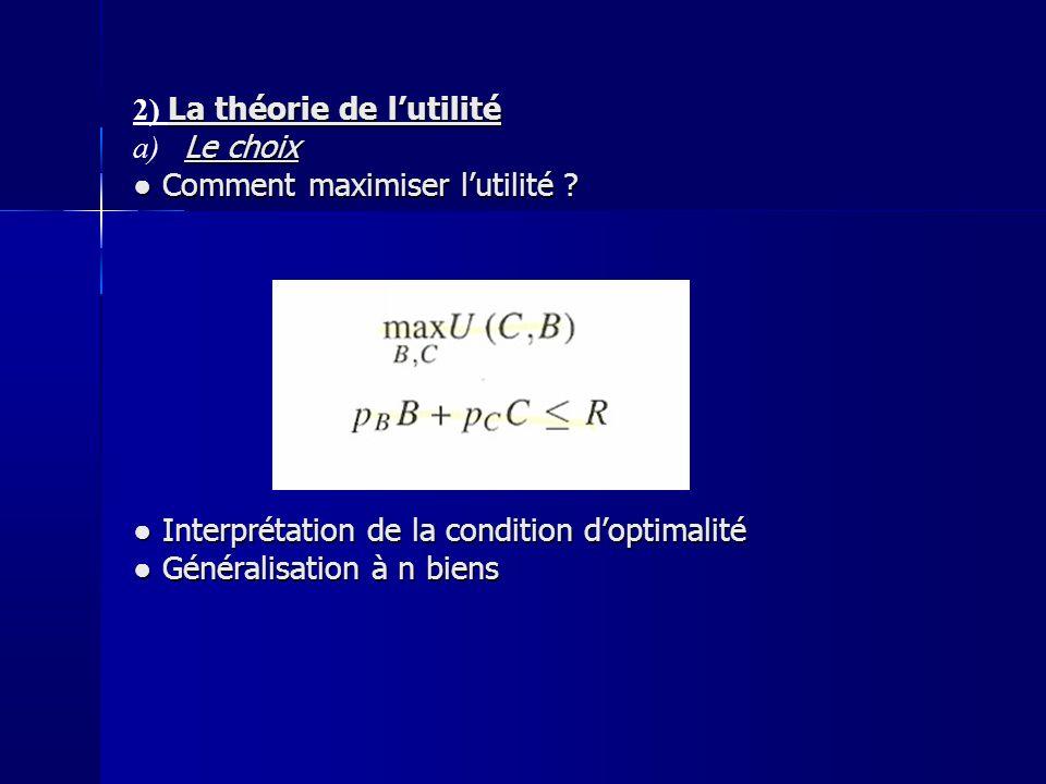 I- LE CHOIX DU CONSOMMATEUR La théorie de lutilité 2) La théorie de lutilité Le choix a) Le choix Comment maximiser lutilité .