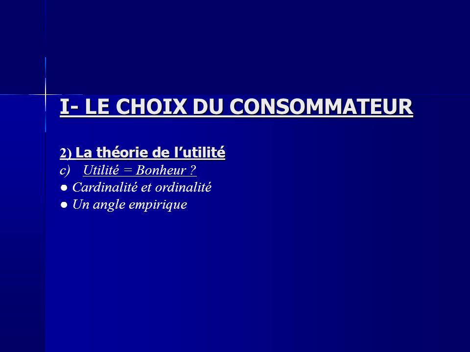 I- LE CHOIX DU CONSOMMATEUR La théorie de lutilité 2) La théorie de lutilité c)Utilité = Bonheur ? Cardinalité et ordinalité Un angle empirique
