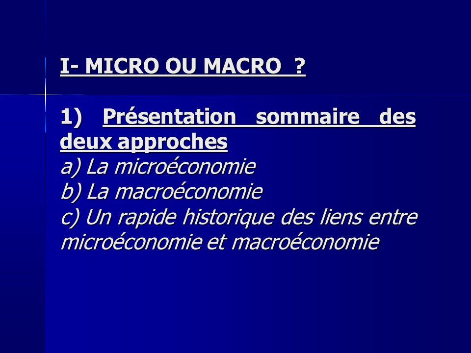 I- MICRO OU MACRO ? 1) Présentation sommaire des deux approches a) La microéconomie b) La macroéconomie c) Un rapide historique des liens entre microé