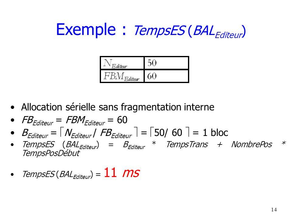15 Exemple : TempsES (BAL Catégorie ) Allocation sérielle sans fragmentation interne FB Catégorie = FBM Catégorie = 40 B Catégorie = N Catégorie / FB Catégorie = 4 000/ 40 = 100 blocs Meilleur cas : –TempsES (BAL Catégorie ) = B Catégorie * TempsTrans + NombrePos * TempsPosDébut –= 100 * 1 ms + 1 * 10 ms = 110 ms Pire cas : –TempsES (BAL Catégorie ) = 100 * 1 ms + 100 * 10 ms = 1 100 ms