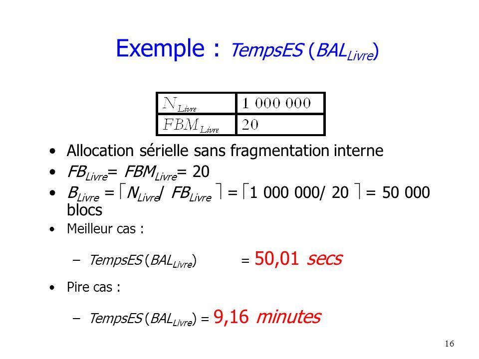 17 Exemple : TempsES (BAL Livre ) Arbre-B + primaire sur la clé primaire ISBN FB Livre = 2/3 FBM Livre = 13 B Livre = N Livre / FB Livre = 1 000 000/ 13 = 76 924 blocs Pire cas (consécutivité des feuilles non assurée) .