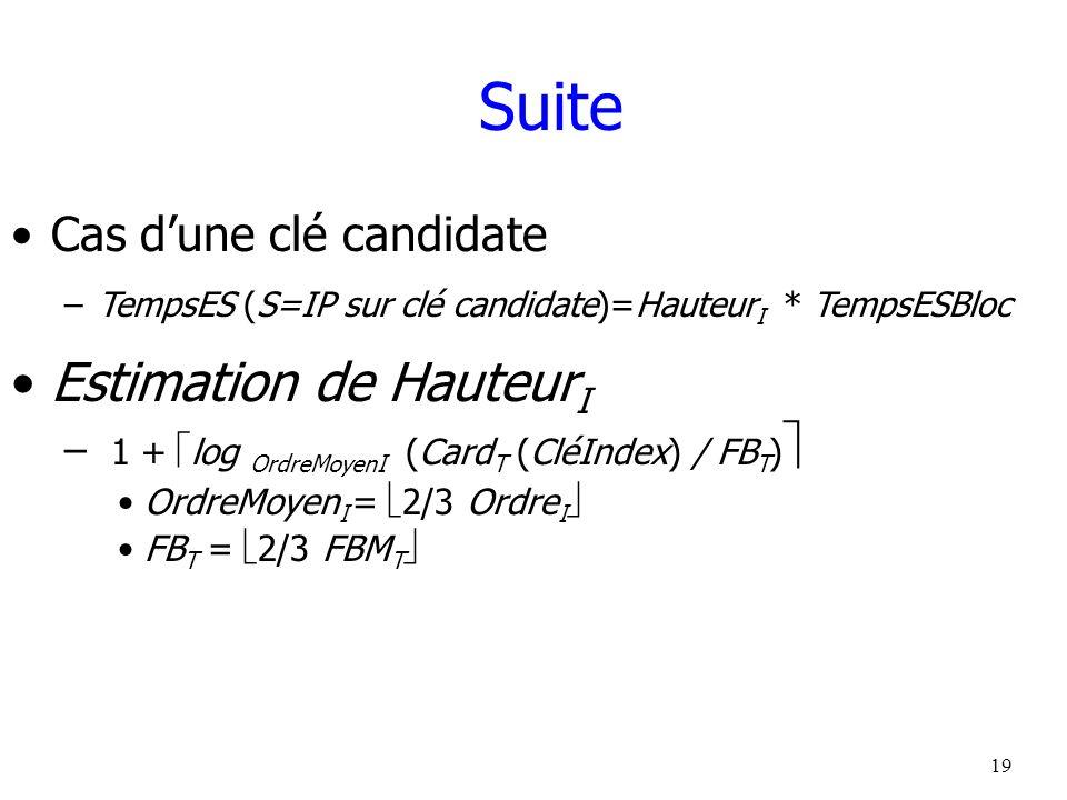 19 Suite Cas dune clé candidate –TempsES (S=IP sur clé candidate)=Hauteur I * TempsESBloc Estimation de Hauteur I – 1 + log OrdreMoyenI (Card T (CléIn