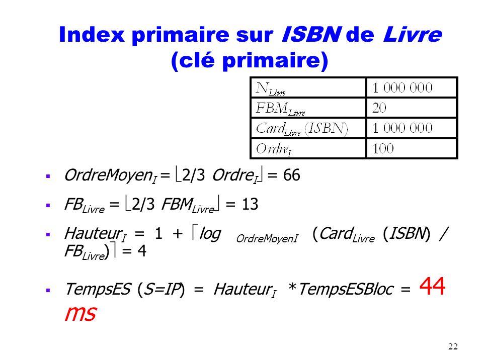 22 Index primaire sur ISBN de Livre (clé primaire) OrdreMoyen I = 2/3 Ordre I = 66 FB Livre = 2/3 FBM Livre = 13 Hauteur I = 1 + log OrdreMoyenI (Card