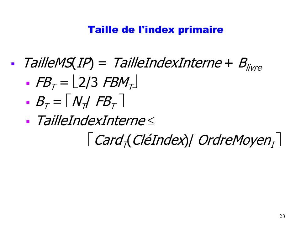 23 Taille de l'index primaire TailleMS(IP) = TailleIndexInterne + B livre FB T = 2/3 FBM T B T = N T / FB T TailleIndexInterne Card T (CléIndex)/ Ordr