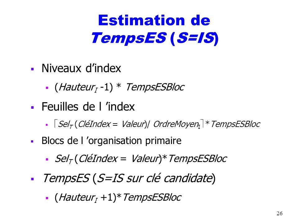 26 Estimation de TempsES (S=IS) Niveaux dindex (Hauteur I -1) * TempsESBloc Feuilles de l index Sel T (CléIndex = Valeur)/ OrdreMoyen I *TempsESBloc B
