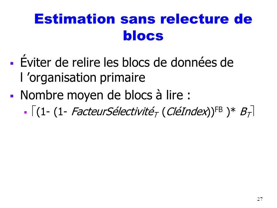 27 Estimation sans relecture de blocs Éviter de relire les blocs de données de l organisation primaire Nombre moyen de blocs à lire : (1- (1- FacteurS