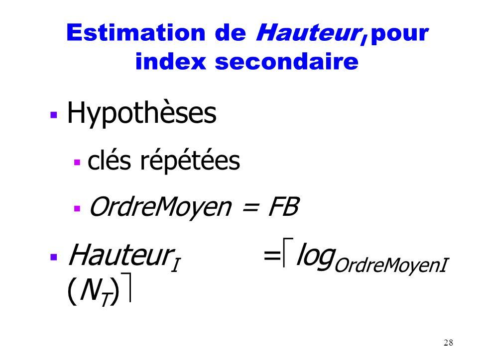 28 Estimation de Hauteur I pour index secondaire Hypothèses clés répétées OrdreMoyen = FB Hauteur I = log OrdreMoyenI (N T )
