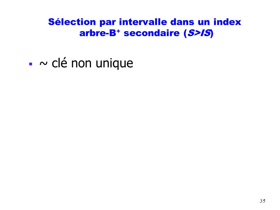 35 Sélection par intervalle dans un index arbre-B + secondaire (S>IS) ~ clé non unique