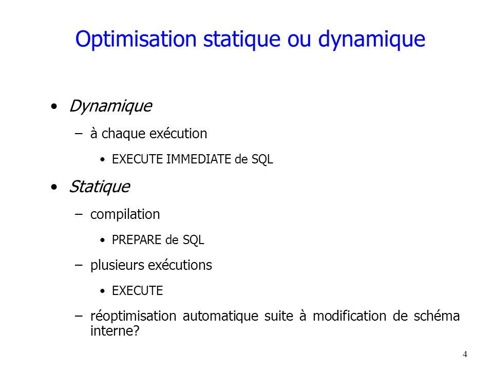4 Optimisation statique ou dynamique Dynamique –à chaque exécution EXECUTE IMMEDIATE de SQL Statique –compilation PREPARE de SQL –plusieurs exécutions