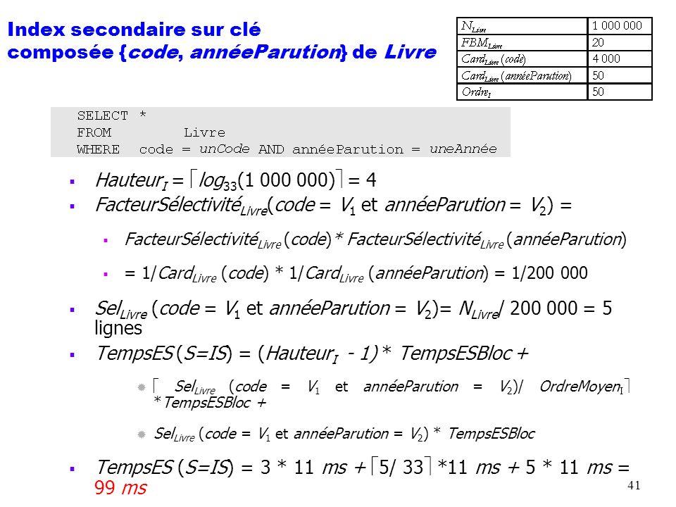 42 Index secondaire sur clé composée {code, annéeParution} de Livre Hauteur I = log 33 (1 000 000) = 4 TempsES (S=IS) = (Hauteur I - 1) * TempsESBloc + Sel Livre ({code, annéeParution} [{unCode, min}..