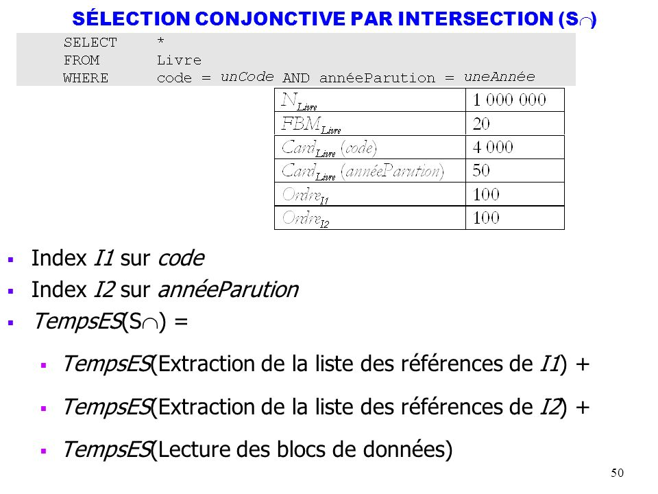 50 SÉLECTION CONJONCTIVE PAR INTERSECTION (S ) Index I1 sur code Index I2 sur annéeParution TempsES(S ) = TempsES(Extraction de la liste des référence