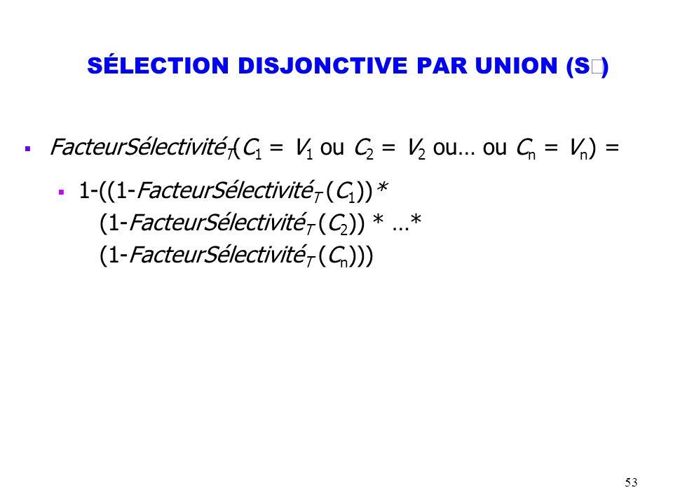 53 SÉLECTION DISJONCTIVE PAR UNION (S ) FacteurSélectivité T (C 1 = V 1 ou C 2 = V 2 ou… ou C n = V n ) = 1-((1-FacteurSélectivité T (C 1 ))* (1-Facte