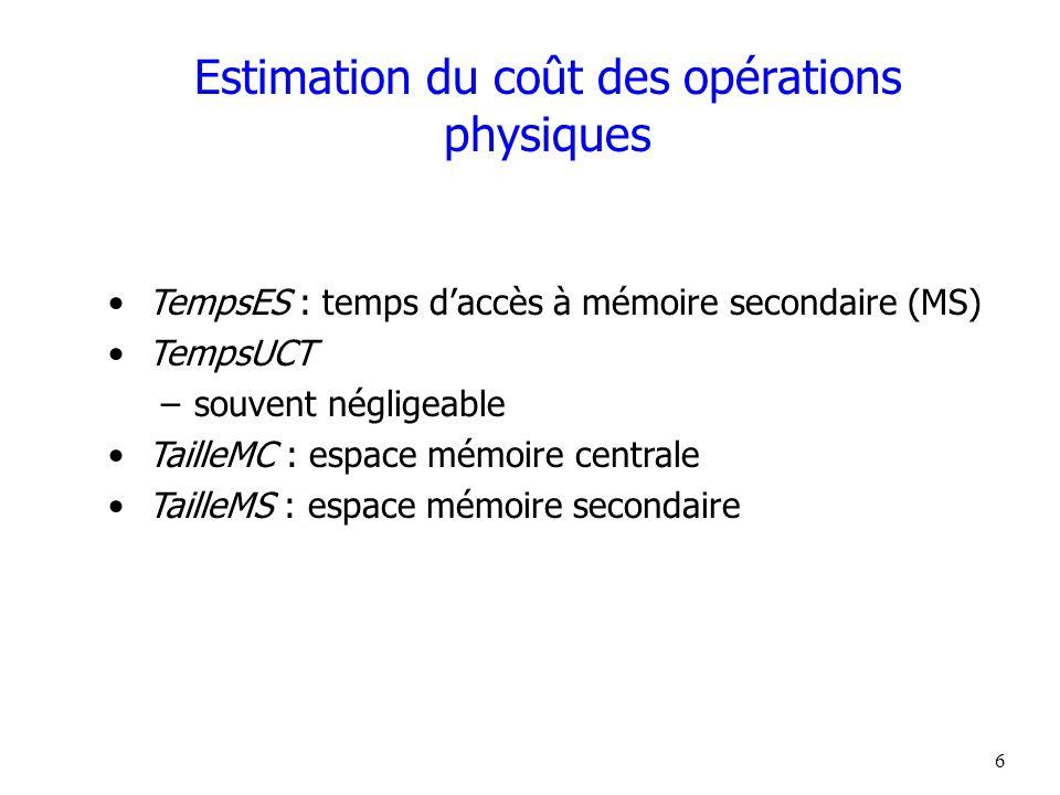 6 Estimation du coût des opérations physiques TempsES : temps daccès à mémoire secondaire (MS) TempsUCT –souvent négligeable TailleMC : espace mémoire
