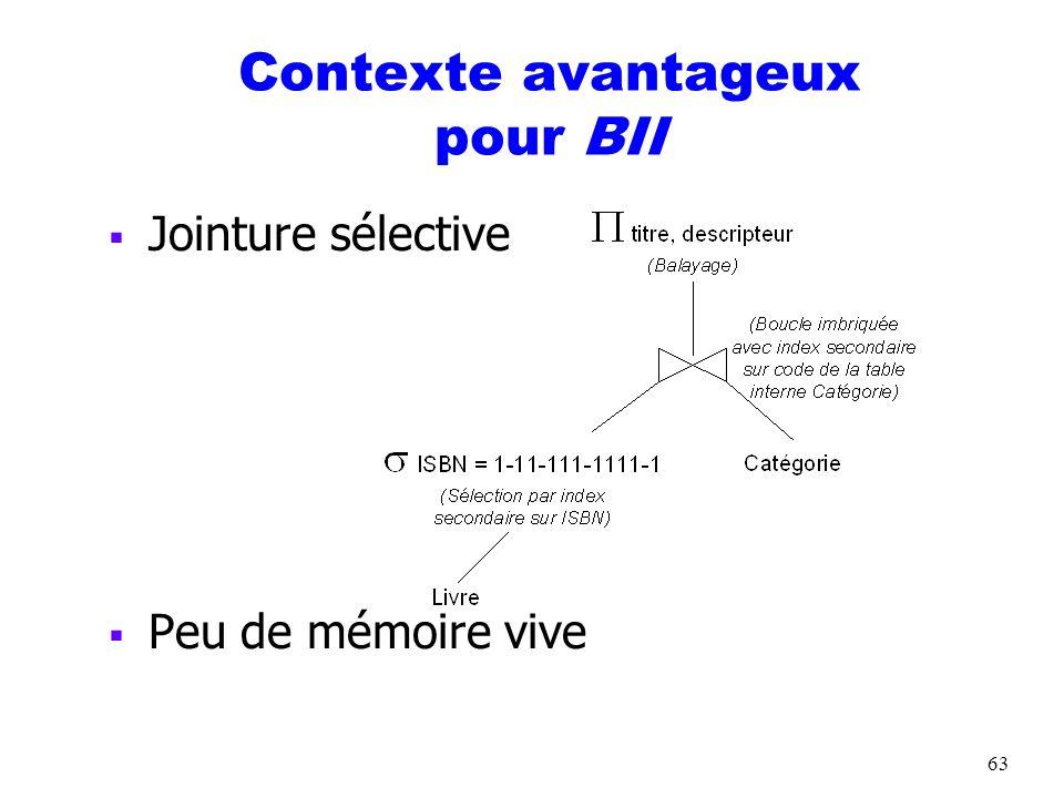 64 Jointure par boucles imbriquées avec hachage sur la table interne (BIH) TempsES (BIH) = B R * TempsESBloc + N R * TempsES(Sélection par hachage)