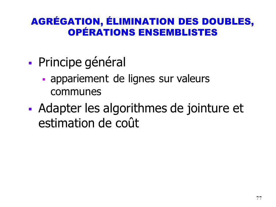 77 AGRÉGATION, ÉLIMINATION DES DOUBLES, OPÉRATIONS ENSEMBLISTES Principe général appariement de lignes sur valeurs communes Adapter les algorithmes de