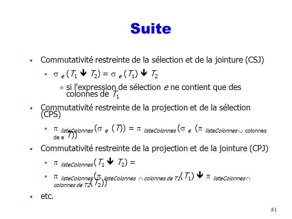 81 Suite Commutativité restreinte de la sélection et de la jointure (CSJ) e (T 1 T 2 ) = e (T 1 ) T 2 ® si l'expression de sélection e ne contient que