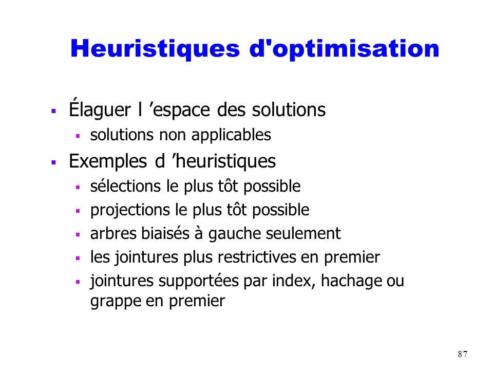 87 Heuristiques d'optimisation Élaguer l espace des solutions solutions non applicables Exemples d heuristiques sélections le plus tôt possible projec