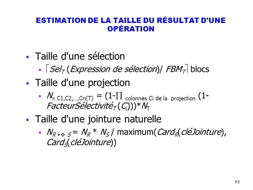 93 ESTIMATION DE LA TAILLE DU RÉSULTAT D'UNE OPÉRATION Taille d'une sélection Sel T (Expression de sélection)/ FBM T blocs Taille d'une projection N C
