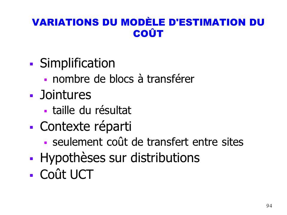 94 VARIATIONS DU MODÈLE D'ESTIMATION DU COÛT Simplification nombre de blocs à transférer Jointures taille du résultat Contexte réparti seulement coût