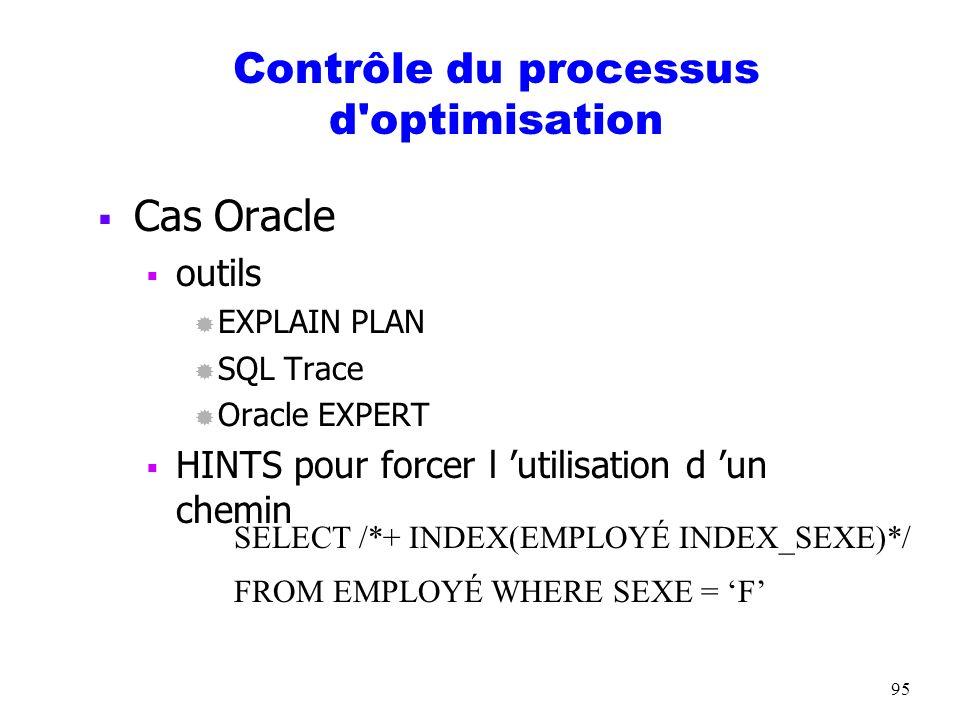 95 Contrôle du processus d'optimisation Cas Oracle outils ® EXPLAIN PLAN ® SQL Trace ® Oracle EXPERT HINTS pour forcer l utilisation d un chemin SELEC