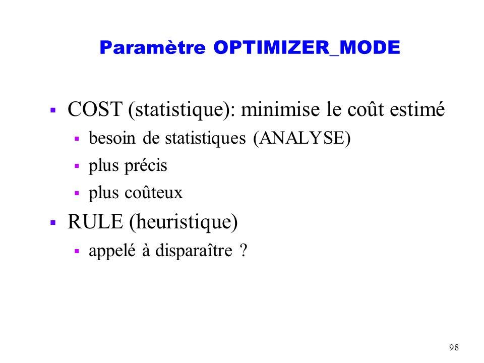 98 Paramètre OPTIMIZER_MODE COST (statistique): minimise le coût estimé besoin de statistiques (ANALYSE) plus précis plus coûteux RULE (heuristique) a