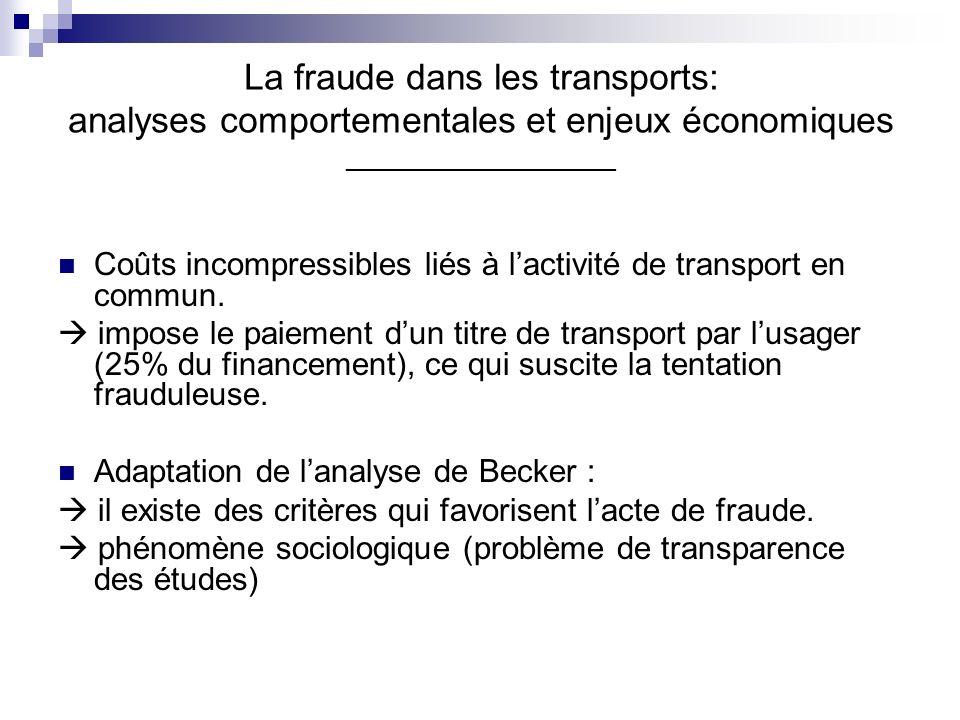 La fraude dans les transports: analyses comportementales et enjeux économiques __________________ Coûts incompressibles liés à lactivité de transport